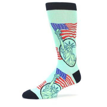 Image of Mint Black Lady Liberty Men's Dress Socks (side-2-10)