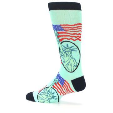 Image of Mint Black Lady Liberty Men's Dress Socks (side-2-13)