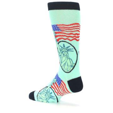 Image of Mint Black Lady Liberty Men's Dress Socks (side-2-back-14)