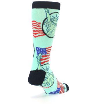 Image of Mint Black Lady Liberty Men's Dress Socks (side-1-back-21)