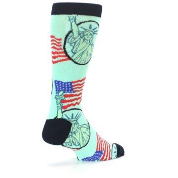 Image of Mint Black Lady Liberty Men's Dress Socks (side-1-back-22)