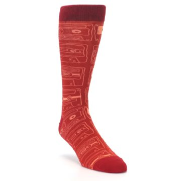 Image of Rust Old School Cassettes Men's Dress Socks (side-1-front-02)