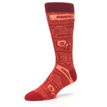 Image of Rust Old School Cassettes Men's Dress Socks (side-2-09)