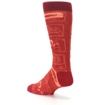 Image of Rust Old School Cassettes Men's Dress Socks (side-2-back-15)