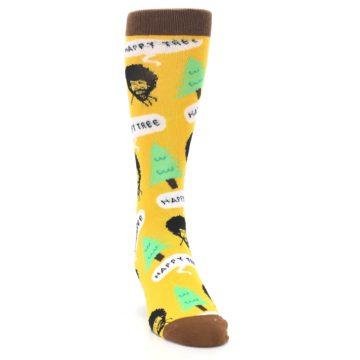 Image of Yellow Bob Ross Happy Tree Men's Dress Socks (side-1-front-03)
