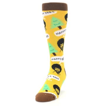 Image of Yellow Bob Ross Happy Tree Men's Dress Socks (side-2-front-06)