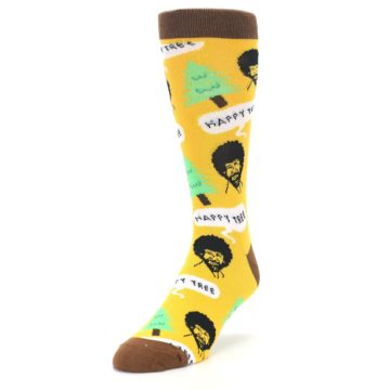 Image of Yellow Bob Ross Happy Tree Men's Dress Socks (side-2-front-07)