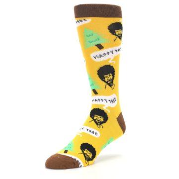 Image of Yellow Bob Ross Happy Tree Men's Dress Socks (side-2-front-08)
