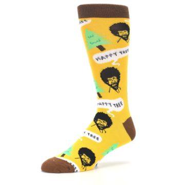 Image of Yellow Bob Ross Happy Tree Men's Dress Socks (side-2-09)
