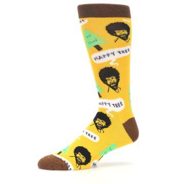Image of Yellow Bob Ross Happy Tree Men's Dress Socks (side-2-10)