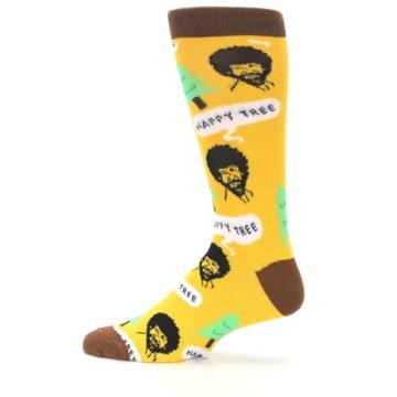 Image of Yellow Bob Ross Happy Tree Men's Dress Socks (side-2-12)