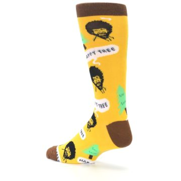 Image of Yellow Bob Ross Happy Tree Men's Dress Socks (side-2-back-14)