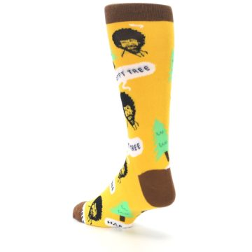 Image of Yellow Bob Ross Happy Tree Men's Dress Socks (side-2-back-15)