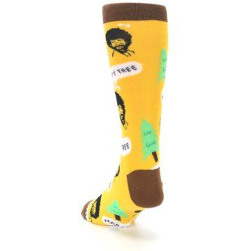 Image of Yellow Bob Ross Happy Tree Men's Dress Socks (side-2-back-16)