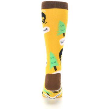 Image of Yellow Bob Ross Happy Tree Men's Dress Socks (back-18)