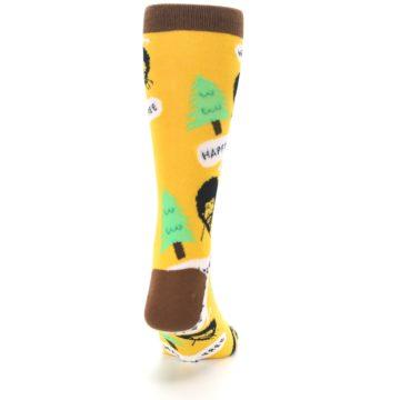 Image of Yellow Bob Ross Happy Tree Men's Dress Socks (back-19)
