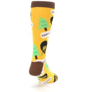Image of Yellow Bob Ross Happy Tree Men's Dress Socks (side-1-back-20)