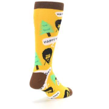 Image of Yellow Bob Ross Happy Tree Men's Dress Socks (side-1-back-21)