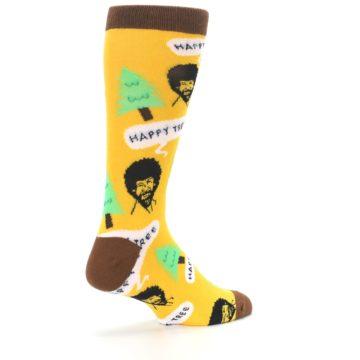 Image of Yellow Bob Ross Happy Tree Men's Dress Socks (side-1-back-22)
