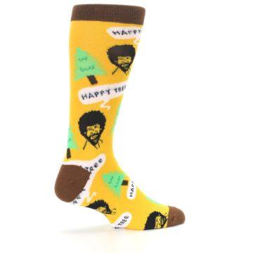 Image of Yellow Bob Ross Happy Tree Men's Dress Socks (side-1-23)