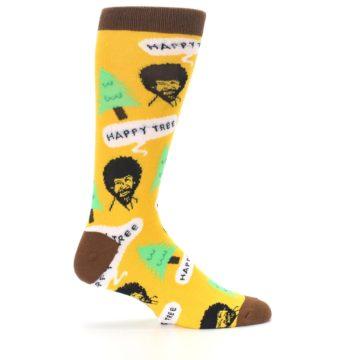 Image of Yellow Bob Ross Happy Tree Men's Dress Socks (side-1-24)