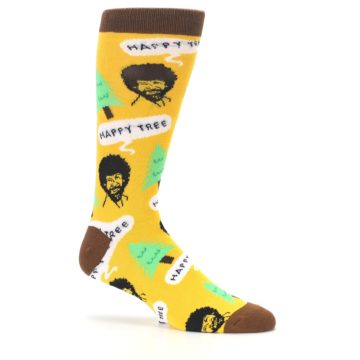 Image of Yellow Bob Ross Happy Tree Men's Dress Socks (side-1-25)