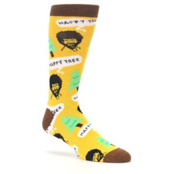 Image of Yellow Bob Ross Happy Tree Men's Dress Socks (side-1-26)