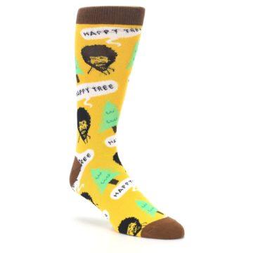 Image of Yellow Bob Ross Happy Tree Men's Dress Socks (side-1-27)