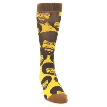 Image of Yellow Brown Bob Ross Men's Dress Socks (side-1-front-03)