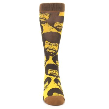 Image of Yellow Brown Bob Ross Men's Dress Socks (front-04)