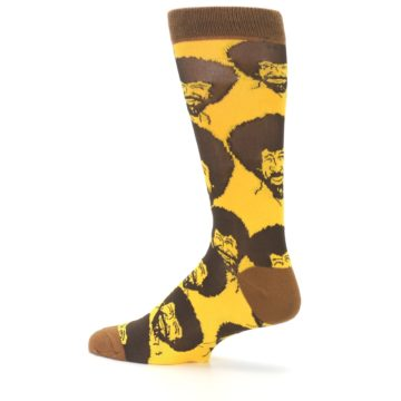 Image of Yellow Brown Bob Ross Men's Dress Socks (side-2-13)