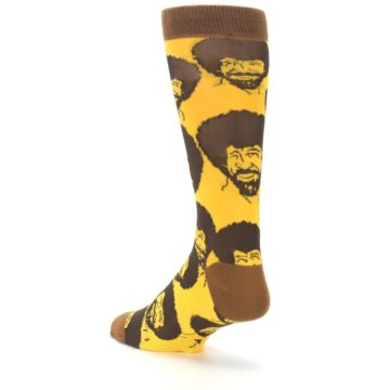 Image of Yellow Brown Bob Ross Men's Dress Socks (side-2-back-15)