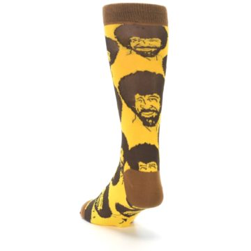 Image of Yellow Brown Bob Ross Men's Dress Socks (side-2-back-16)