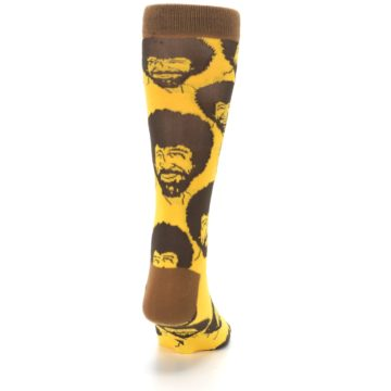 Image of Yellow Brown Bob Ross Men's Dress Socks (back-19)