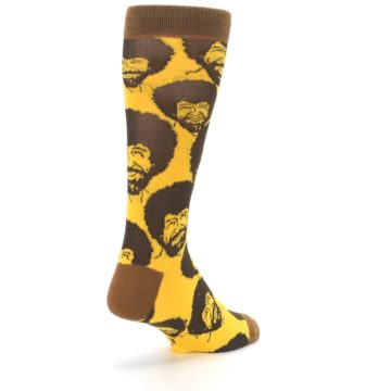 Image of Yellow Brown Bob Ross Men's Dress Socks (side-1-back-21)