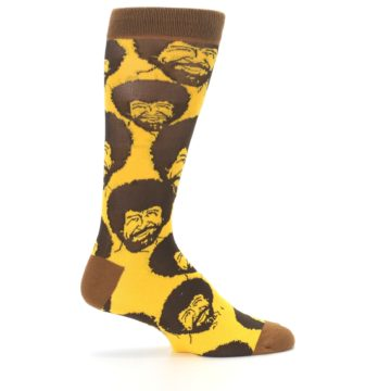 Image of Yellow Brown Bob Ross Men's Dress Socks (side-1-24)