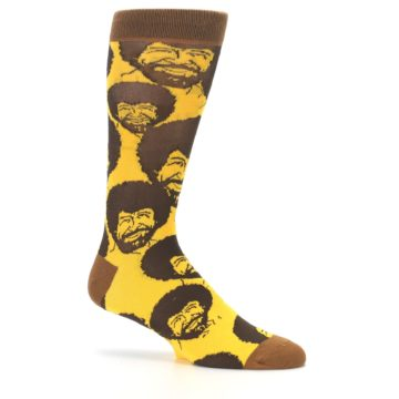 Image of Yellow Brown Bob Ross Men's Dress Socks (side-1-25)