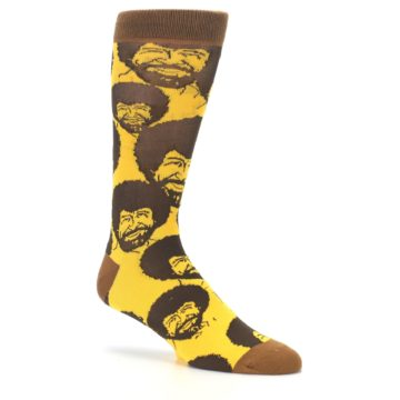 Image of Yellow Brown Bob Ross Men's Dress Socks (side-1-26)