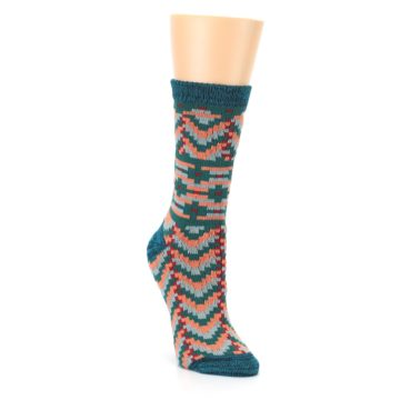 Image of Teal Coral Zig-Zag Patterned Women's Dress Socks (side-1-front-02)