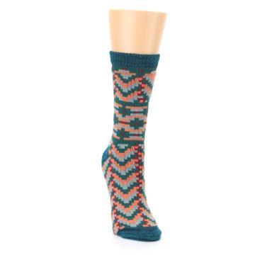 Image of Teal Coral Zig-Zag Patterned Women's Dress Socks (side-1-front-03)