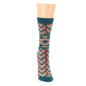 Image of Teal Coral Zig-Zag Patterned Women's Dress Socks (front-04)