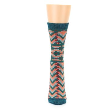 Image of Teal Coral Zig-Zag Patterned Women's Dress Socks (front-05)