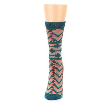 Image of Teal Coral Zig-Zag Patterned Women's Dress Socks (side-2-front-06)