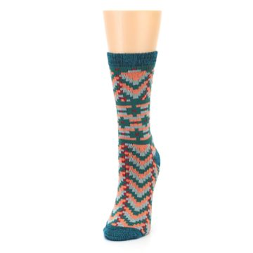 Image of Teal Coral Zig-Zag Patterned Women's Dress Socks (side-2-front-07)