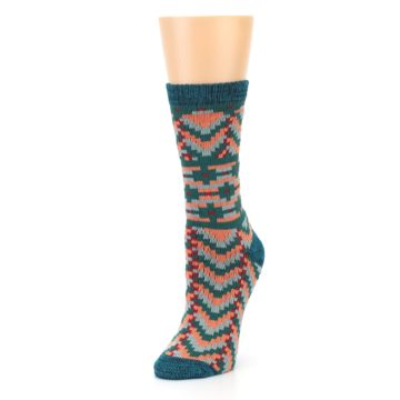 Image of Teal Coral Zig-Zag Patterned Women's Dress Socks (side-2-front-08)