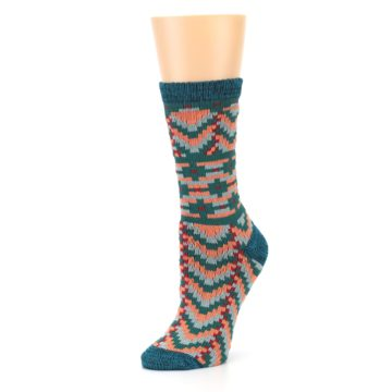 Image of Teal Coral Zig-Zag Patterned Women's Dress Socks (side-2-09)