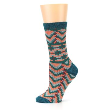 Image of Teal Coral Zig-Zag Patterned Women's Dress Socks (side-2-11)