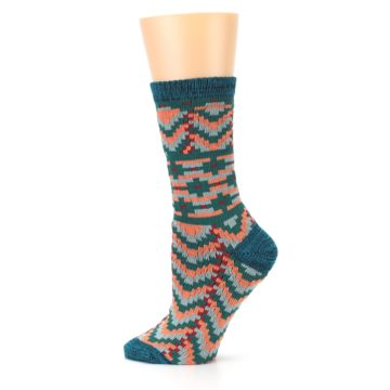 Image of Teal Coral Zig-Zag Patterned Women's Dress Socks (side-2-12)