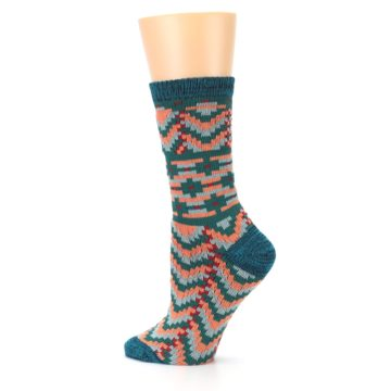 Image of Teal Coral Zig-Zag Patterned Women's Dress Socks (side-2-13)