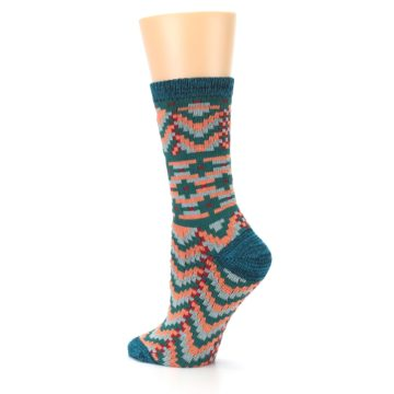 Image of Teal Coral Zig-Zag Patterned Women's Dress Socks (side-2-back-14)